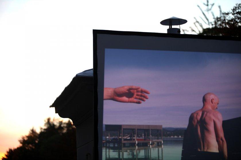 """Filmpräsentation des Kunstprojektes """"Cityline"""" von Roland Roos im Lendhafen"""
